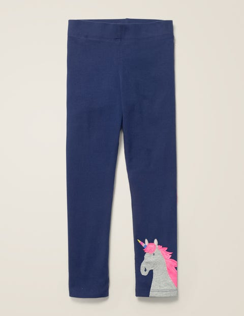 Appliqué Leggings - College Navy Unicorn