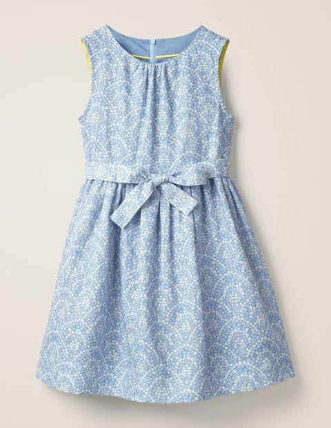 Vintage Dress - Whisper Blue Daisy Rainbow