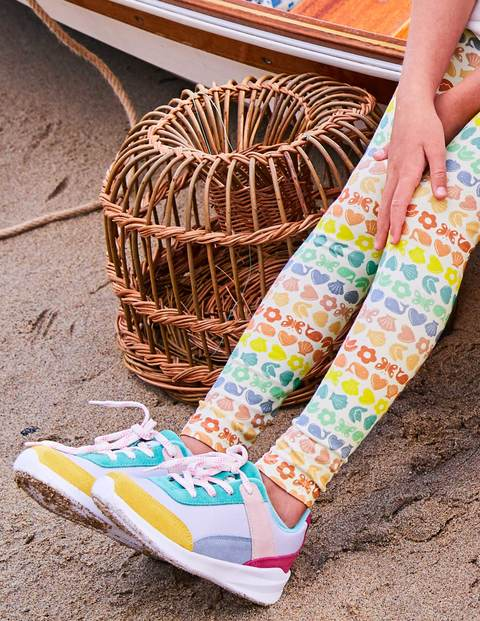 Fun Leggings - Ivory Rainbow Geo