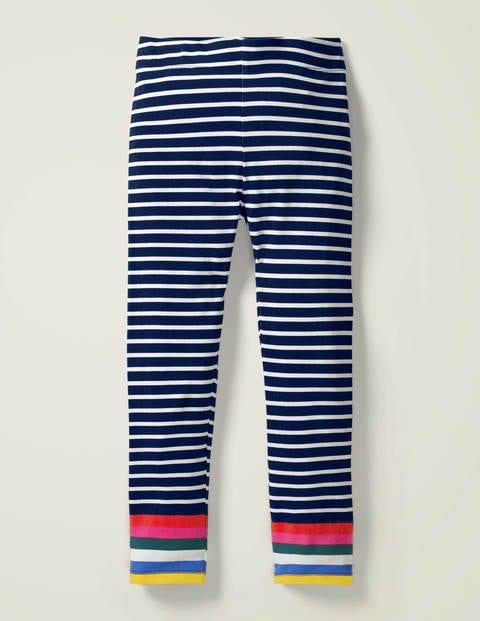 Fröhliche Leggings - Schuluniform-Navy/Naturweiß, Regenbogen