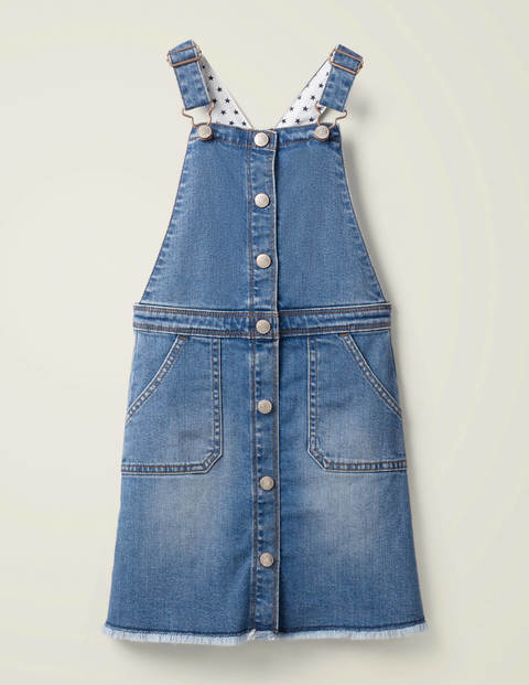 Button Through Dungaree Dress - Mid Vintage Denim