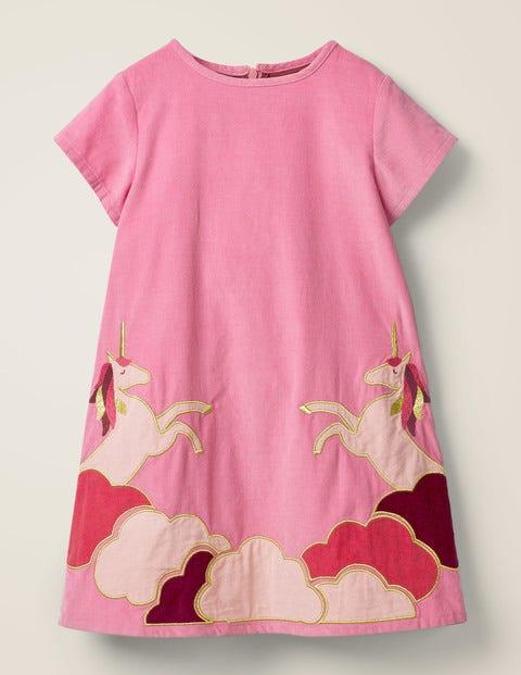 Unicorn Appliqué Woven Dress - Formica Pink