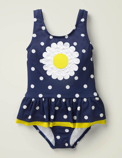 Novelty Appliqué Swimsuit - Deep Sea Blue/Ivory Spot Daisy