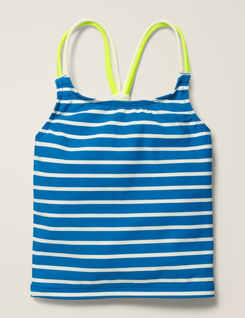 Patterned Tankini Top - Bold Blue/Ivory