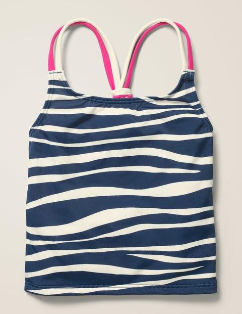 Patterned Tankini Top - Deep Sea Blue Zebra Stripe
