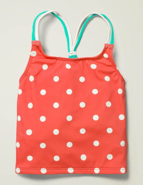 Patterned Tankini Top - Sunset Red/Ivory Spot