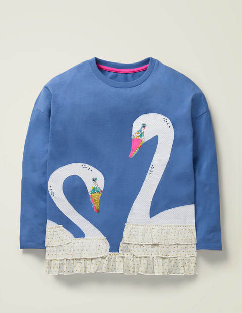 Frill Appliqué T-shirt - Sky Blue Swan