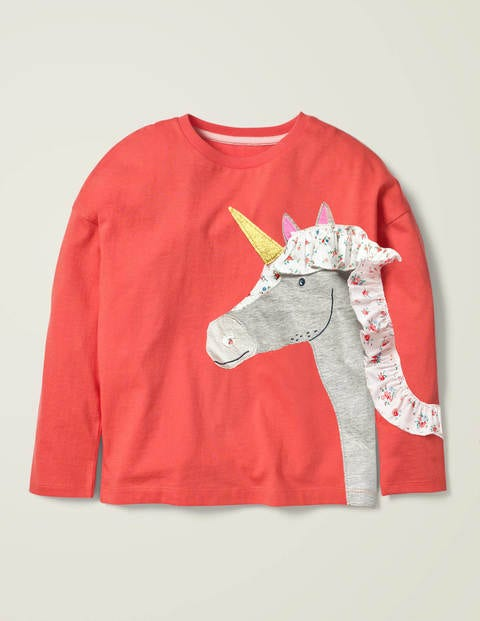 Frill Appliqué T-Shirt - Peach Melba Pink Unicorn
