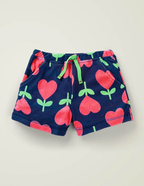 Towelling Shorts - Poppy Red Small Heart Flower