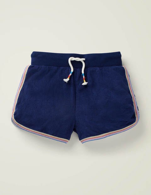 Retro-Frottee-Shorts - Schuluniform-Navy
