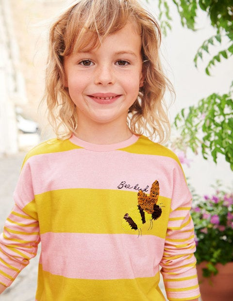 Stripy Colour Change T-Shirt - Pink/Daffodil Yellow Bee Kind
