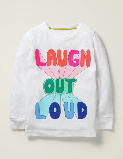 T-Shirt mit Retromuster - Weiß, Laugh Out Loud