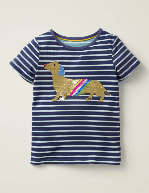 Sequin Colour-Change T-Shirt - College Navy Sausage Dog
