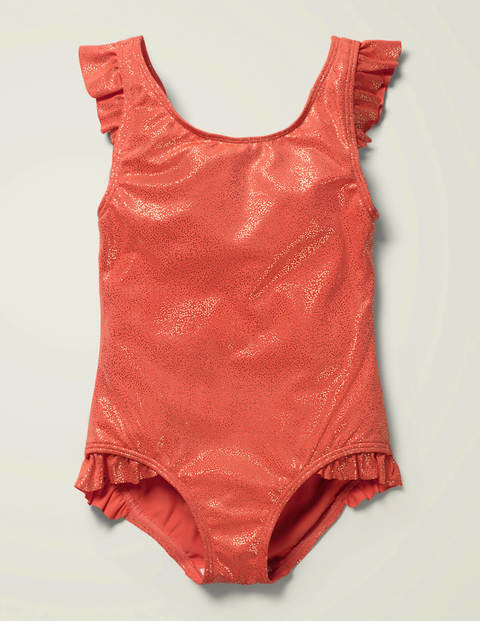 Foil Frill Swimsuit - Sunset Red