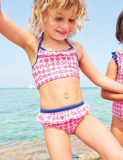 Halterneck Bikini Set - Neon Pink Maritime Geo