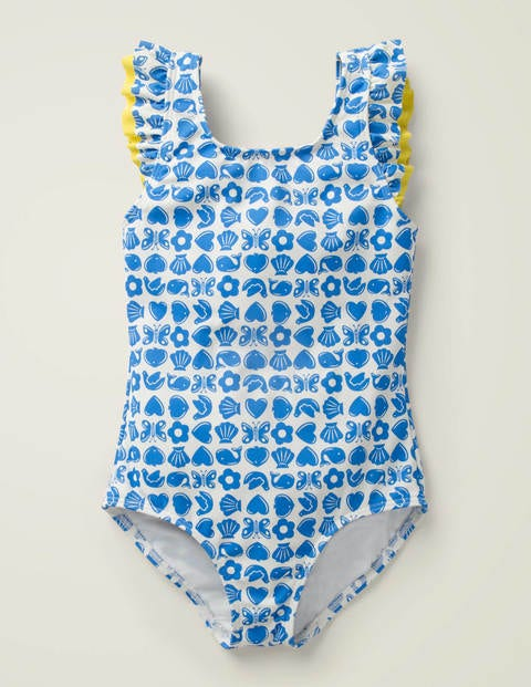 Shoulder Frill Swimsuit - Blue Oasis Maritime Geo