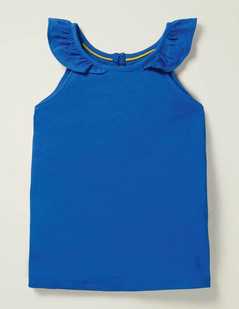 Top Mit Rüschenärmeln - Kräftiges Blau