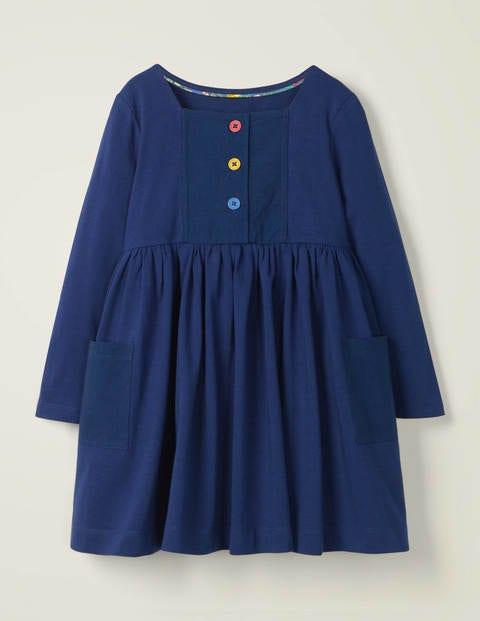 Rainbow Button Jersey Dress - College Navy