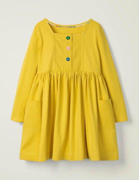 Rainbow Button Jersey Dress - Daffodil Yellow