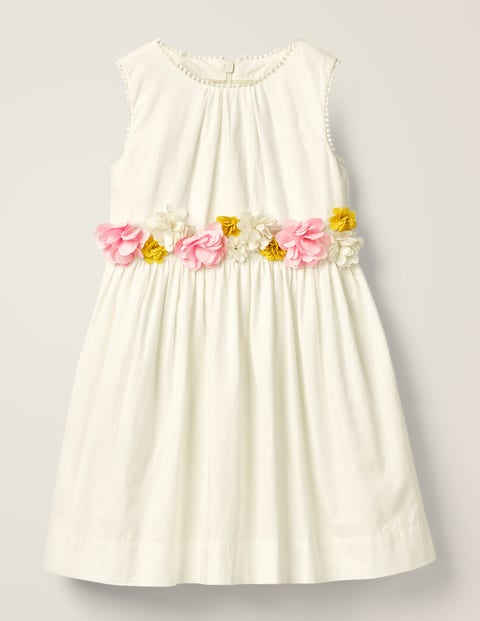 Floral Corsage Dress - Ivory