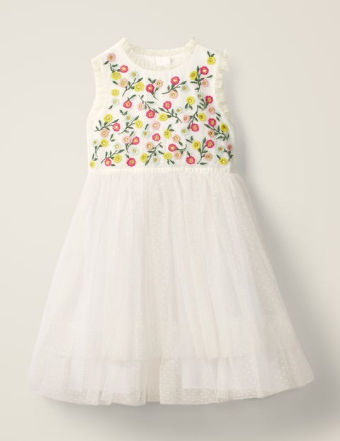 Embroidered Floaty Dress - Ivory Embroidery
