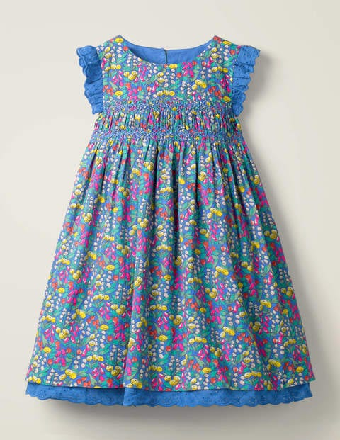 Nostalgic Smocked Dress - Blue Spring Floral