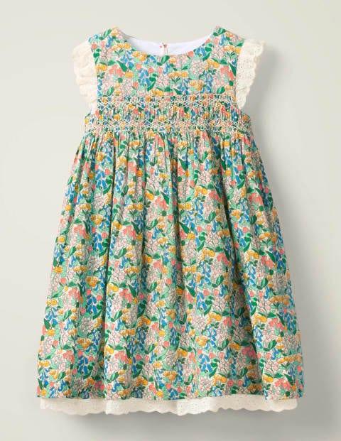Nostalgic Smocked Dress - Green Spring Floral