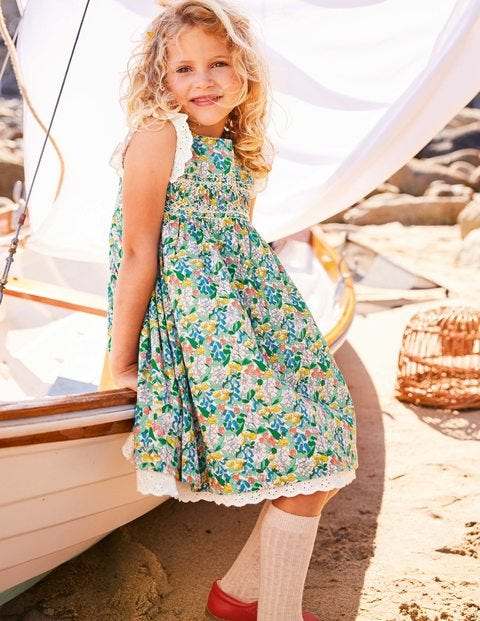 Nostalgic Smocked Dress - Green Spring Floral