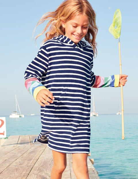 Stripy Towelling Beach Dress - Ivory/Navy Rainbow Stripe