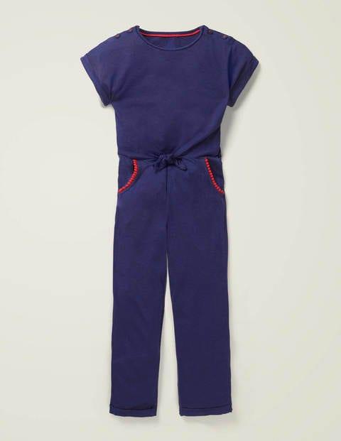 Jersey-Jumpsuit mit Pompons