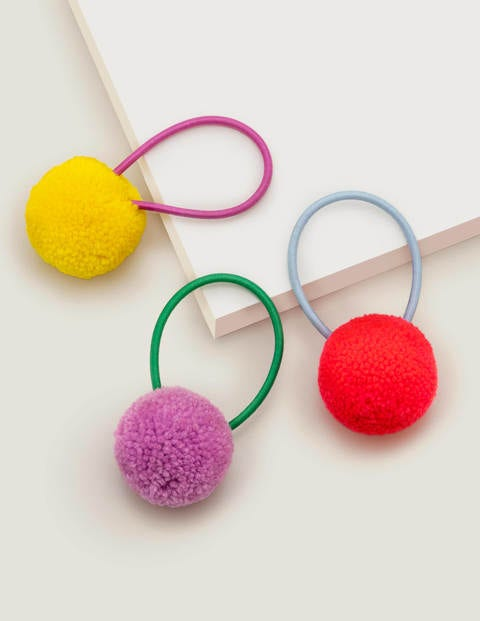3 Pack Pompom Hairbands - Multi Pompoms