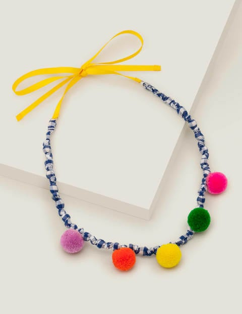 Fabric Necklace - Multi Pompoms