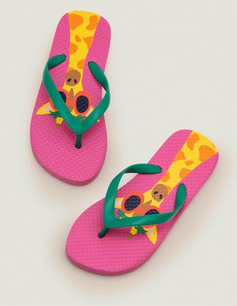 Printed Flip Flops - Bright Camelia Pink Giraffe