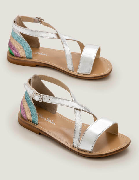 Leather Cross Over Sandals - Silver Metallic