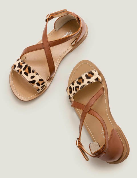 Leather Cross Over Sandals - Tan