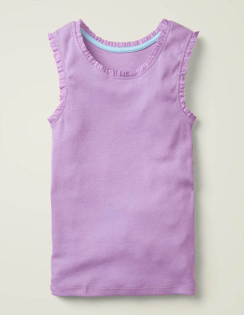 Lace Trim Ribbed Tank - Cool Violet