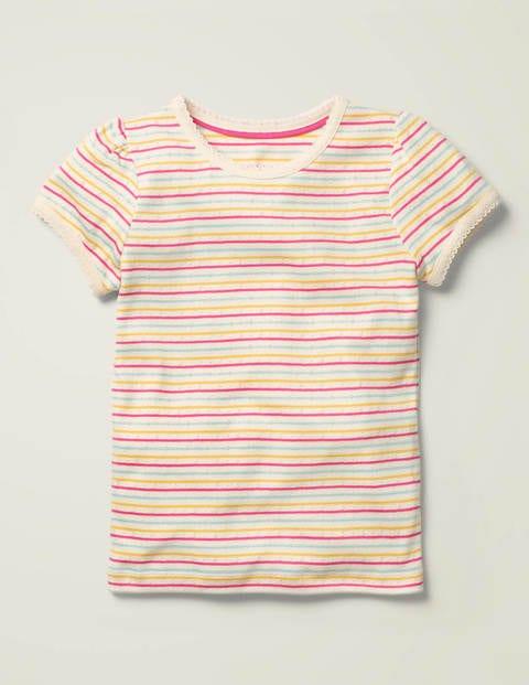 Short-Sleeved Pointelle Top - Multi Rainbow Stripe