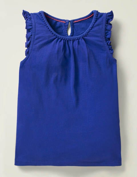 Flutter Sleeve Jersey Top - Bright Blue