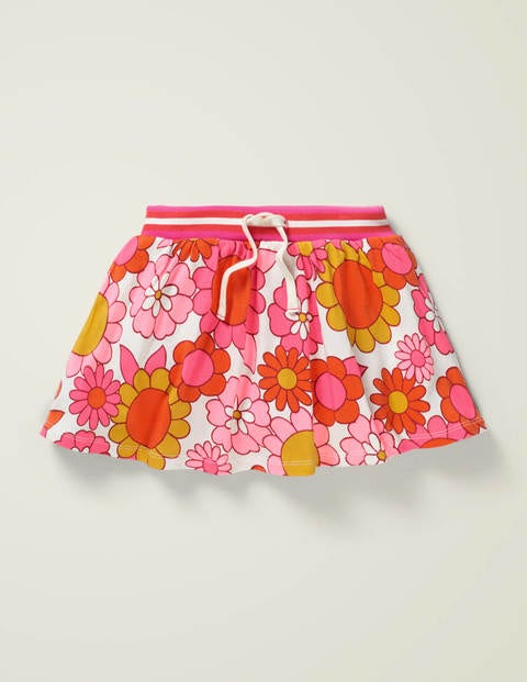 Jersey Skort - White and Camelia Pink Floral