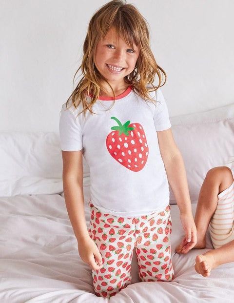 Kurzer Schlafanzug im 2er-Pack - Naturweiß, Erdbeeren
