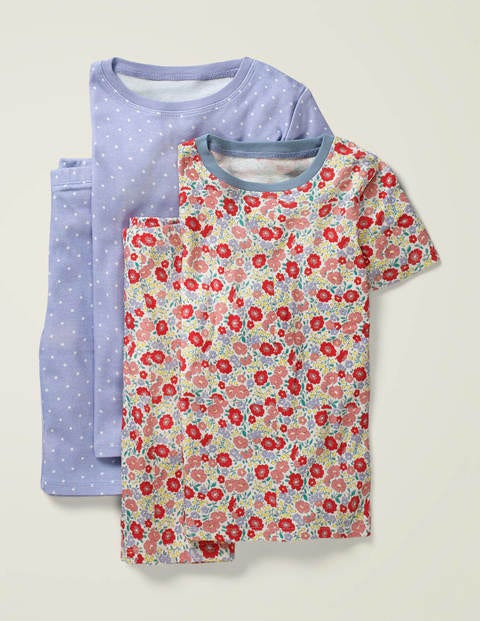 Twin Pack Short John Pyjamas - Pink Flowerbed