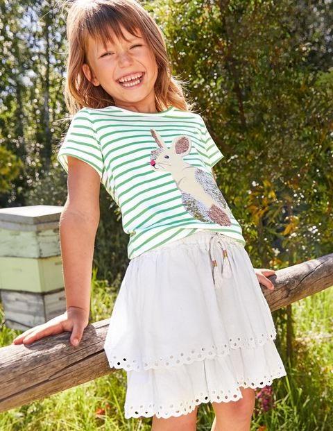 Broderie Hem Skirt - White