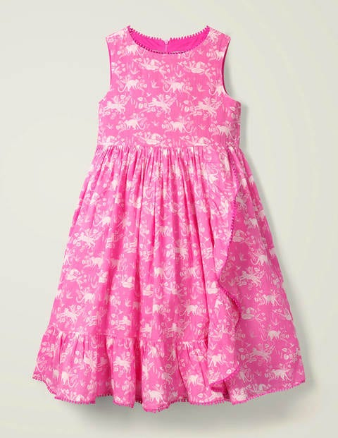 Ruffle Wrap Dress - Pop Pansy Pink Tropical Toile