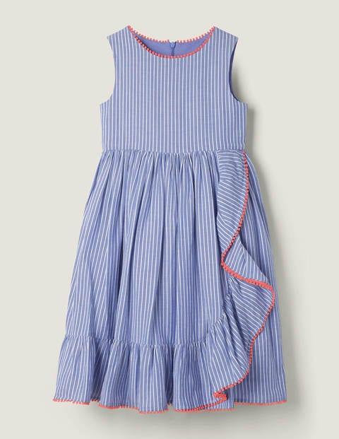 Ruffle Wrap Dress - Blue/White Zig Zag