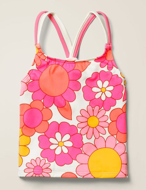 Patterned Tankini Top - Bright Camelia Sixties Floral