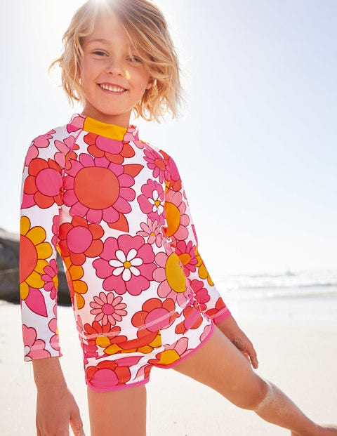 Long-Sleeved Rash Vest - Bright Camelia Sixties Floral