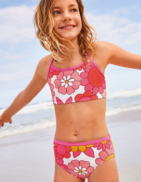 Patterned Bikini Top - Bright Camelia Sixties Floral
