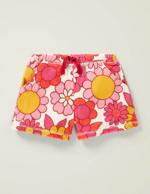 Towelling Shorts - Camelia Pink Sixties Floral