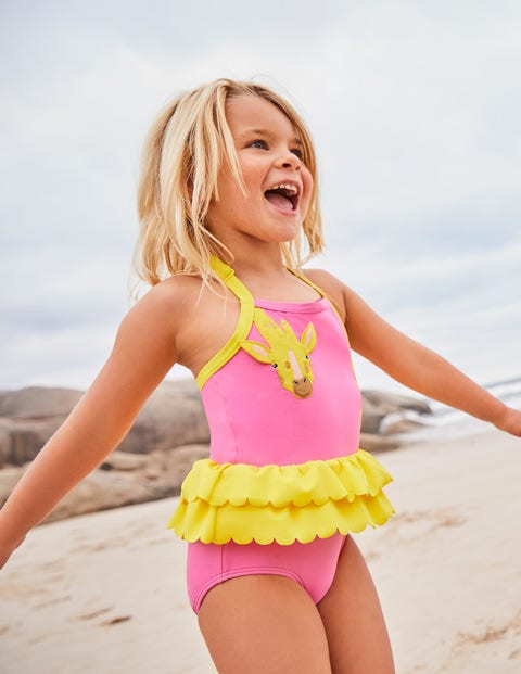 Appliqué Swimsuit - Sweet Pink Giraffe