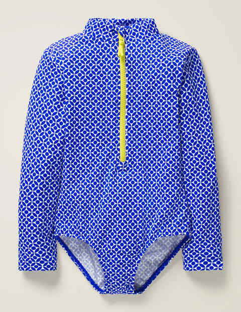 Long-Sleeved Swimsuit - Bright Blue Diamond Geo